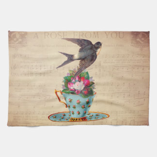 Vintage Bird, Roses, and Teacup Tea Towel