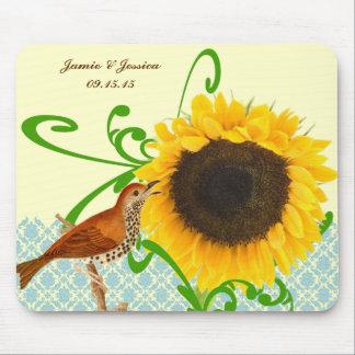 Vintage Bird Sunflower MousePad