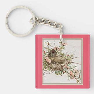 Vintage Bird Watching Nest Key Ring