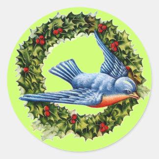 Vintage Bird & Wreath Sticker