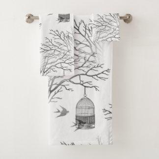 Vintage Birdcage Bare Branch Swallows Towel Set