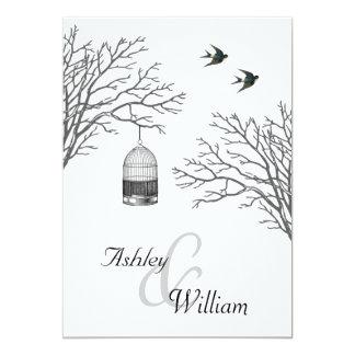 Vintage Birdcage Bare Branch Swallows Wedding Card