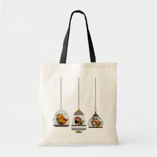Vintage Birdcage Bird Tote Bag
