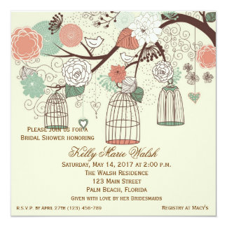 Vintage Birdcage Bridal Shower Custom Invitations