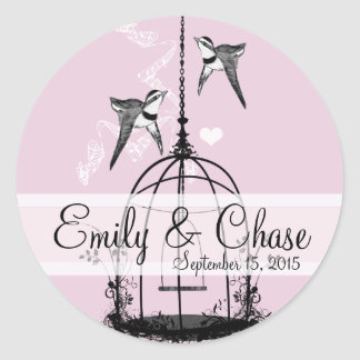 Vintage Birdcage Musical Love Bird Weddings Classic Round Sticker