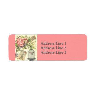 Vintage Birdcage, Postcard, Rose Address Label