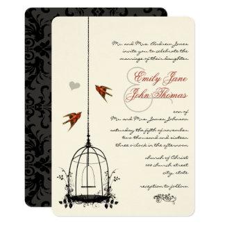 Vintage BirdCage Red Love Bird Wedding Invitations