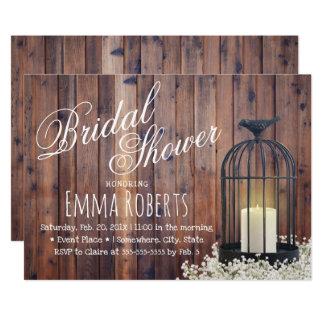 Vintage Birdcage Rustic Floral Barn Bridal Shower Card