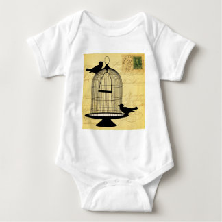 Vintage Birdcage Silhouette and Handwriting Baby Bodysuit