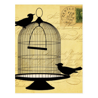 Vintage Birdcage Silhouette and Handwriting Postcard