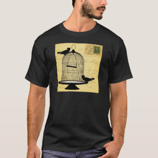 Vintage Birdcage Silhouette and Handwriting T-Shirt