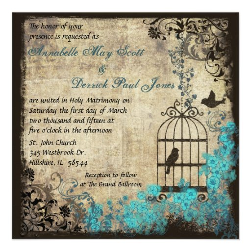 Vintage Birdcage Wedding Invitation Blue
