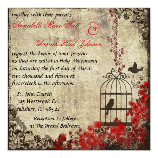 "Vintage Birdcage Wedding Invitation Red 5.25"" Square Invitation Card"