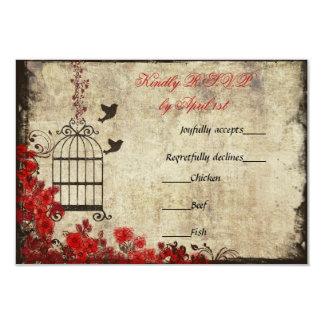 Vintage Birdcage Wedding RSVP Red 9 Cm X 13 Cm Invitation Card