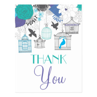 Vintage Birdcages and Flowers Thank You Postcard