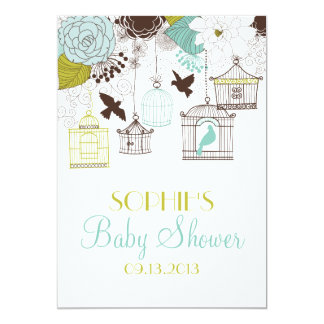 Vintage Birdcages Floral Baby Shower Invitations