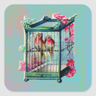 Vintage Birds and Bird Cage Square Sticker