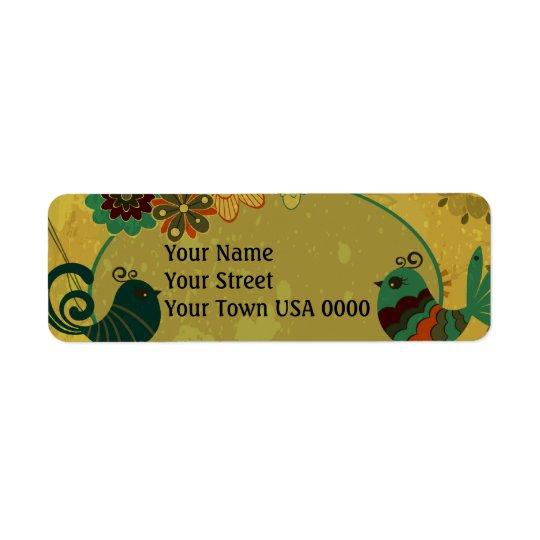 vintage birds and floral design return address label