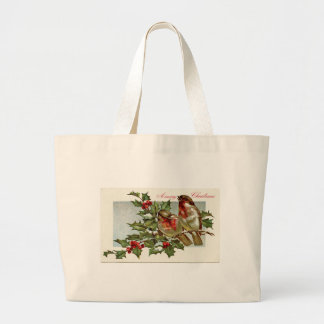 Vintage Birds and Holly Christmas Tote Bags