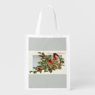 Vintage Birds and Holly Gray Christmas Reusable Grocery Bag