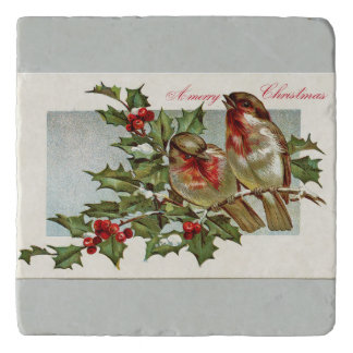 Vintage Birds and Holly Gray Christmas Trivet