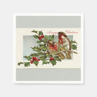 Vintage Birds and Holly Light Green Christmas Standard Cocktail Napkin