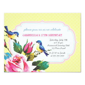 Vintage Birds and Roses Birthday Party 4.25x5.5 Paper Invitation Card