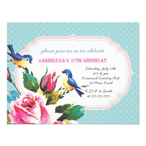Vintage Birds and Roses Birthday Party Invitations