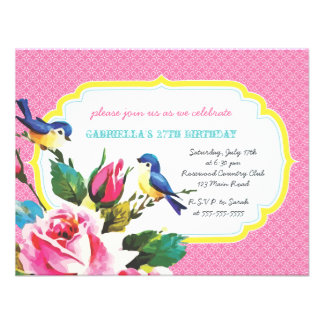 Vintage Birds and Roses Birthday Party Custom Invitation