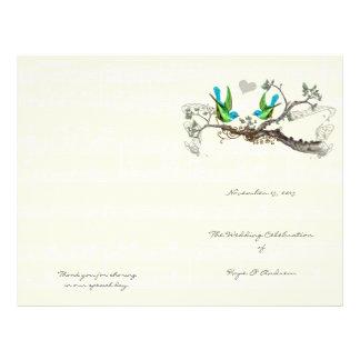 Vintage Birds Blue & Green Wedding Program Flyer