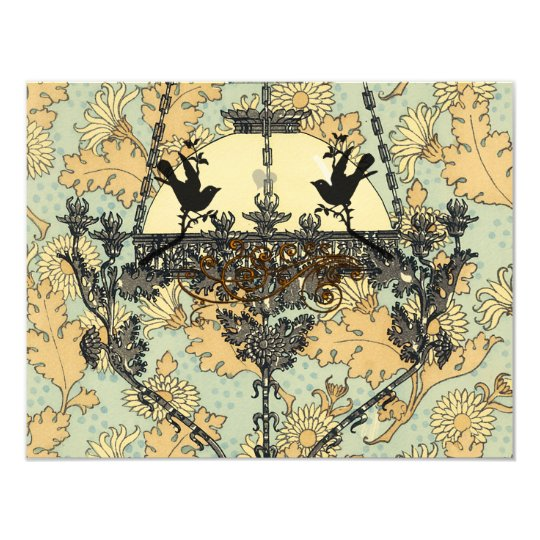 Vintage Birds Damask Chandelier Wedding RSVP 11 Cm X 14 Cm Invitation Card