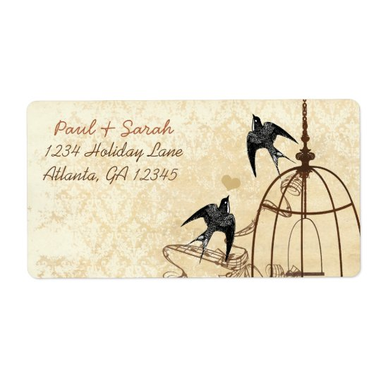 Vintage Birds Damask Swallow Brown Bird Cage Shipping Label