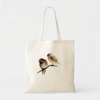 Vintage birds design bag grey birdies