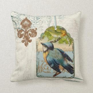 Vintage Birds Fleur de Lis Songbird Swirl Collage Cushion