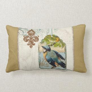 Vintage Birds Fleur de Lis Songbird Swirl Collage Throw Cushions