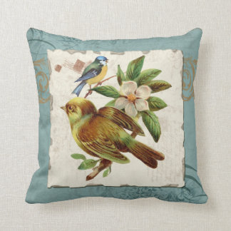 Vintage Birds Floral Postage Stamp Swirl Branch Throw Cushions