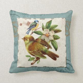Vintage Birds Floral Postage Stamp Swirl Branch Throw Cushions