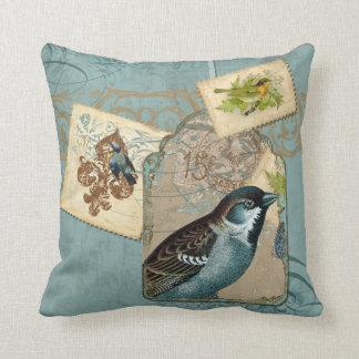 Vintage Birds Floral Postage Stamp Swirl Branch Cushion