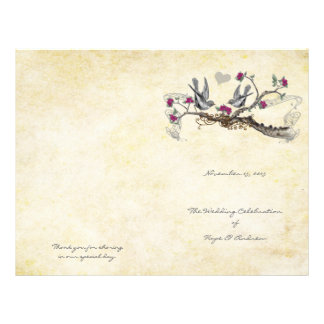 Vintage Birds Fuchsia & Gray Wedding Program Flyer