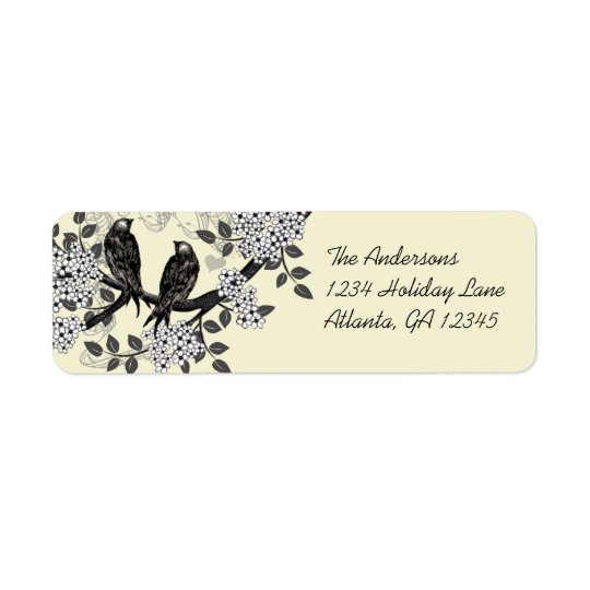 Vintage Birds Hand Drawn Flowers Labels