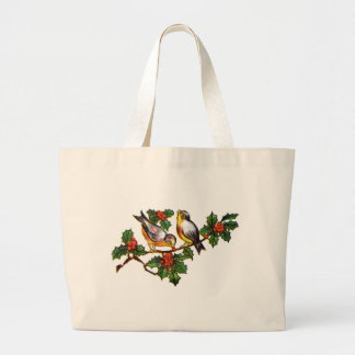 Vintage Birds in Holly Canvas Bags