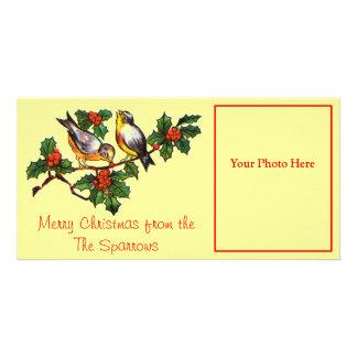 Vintage Birds in Holly Custom Photo Card