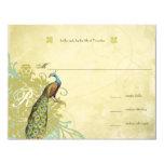 Vintage Birds Lagoon Endive Aged Damask RSVP 11 Cm X 14 Cm Invitation Card