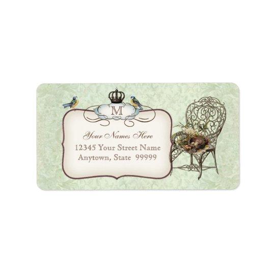 Vintage Birds' Nest in Chair, Wedding Invitation Address Label