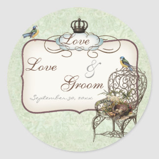 Vintage Birds' Nest in Chair, Wedding Invitation Classic Round Sticker