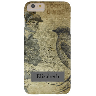 Vintage Birds & Newsprint Custom Name Barely There iPhone 6 Plus Case