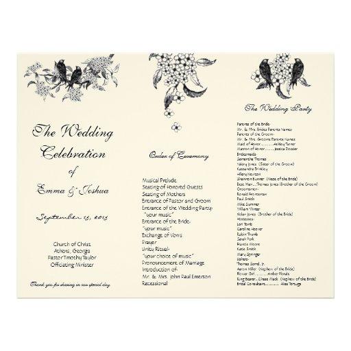Vintage Birds on Branch TriFold Wedding Program Personalised Letterhead