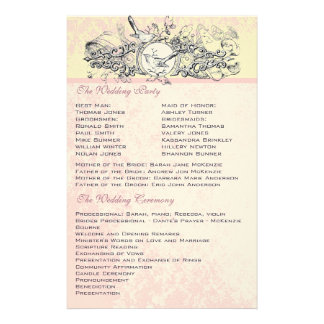 Vintage Birds Pink Musical Scroll Wedding Menu Customised Stationery