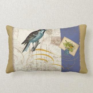 Vintage Birds Postage Stamp Songbird Swirl Collage Cushion