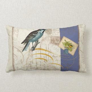 Vintage Birds Postage Stamp Songbird Swirl Collage Lumbar Pillow